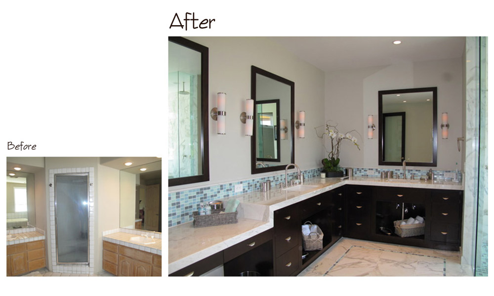 contemporary bathroom, Calcutta marble countertop, extra long bathroom counter, ocean color glass mosaic, contemporary sconces, dark wood cabinets, dark wood mirrors, glass tile