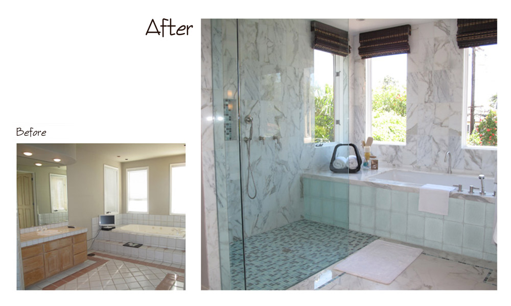 contemporary bathroom, shower windows, clear glass shower doors, Calcutta marble walls, Calcutta marble floors, built-in bathtub, bright bathroom, ocean glass mosaic, shower bench