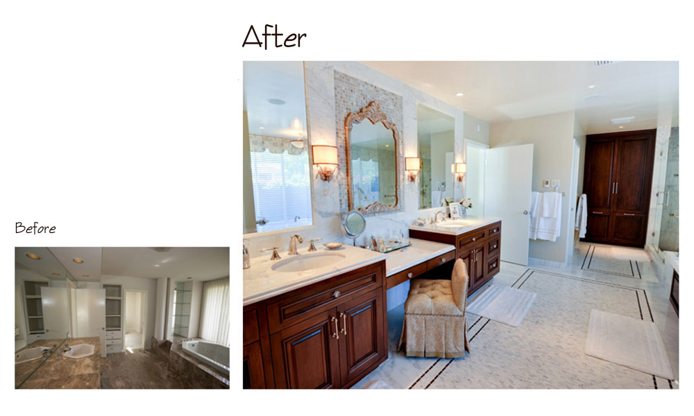 Calcutta marble, dark walnut cabinets, dressing table, elegant bath, iridescent glass tile, master bath, silver framed mirror, vanity, white countertop, antique mirror, traditional bathroom