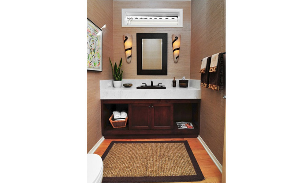 contemporary powder room, crema delicato marble, neutral colors for powder room, small bathroom window, small sisal rug