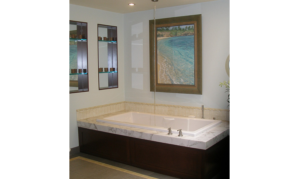 ocean theme bathroom, marble tub deck, contemporary bathroom