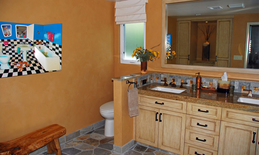 flagstone, lime wash, slate, southwestern bathroom, contemporary southwestern