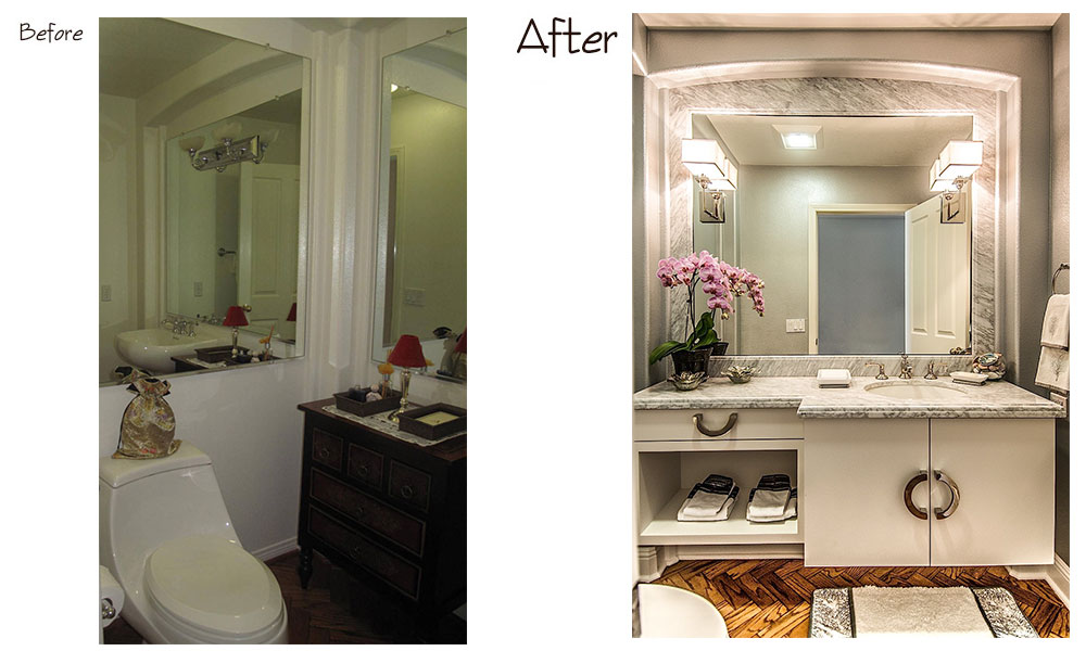 Encino Powder Room Before and After