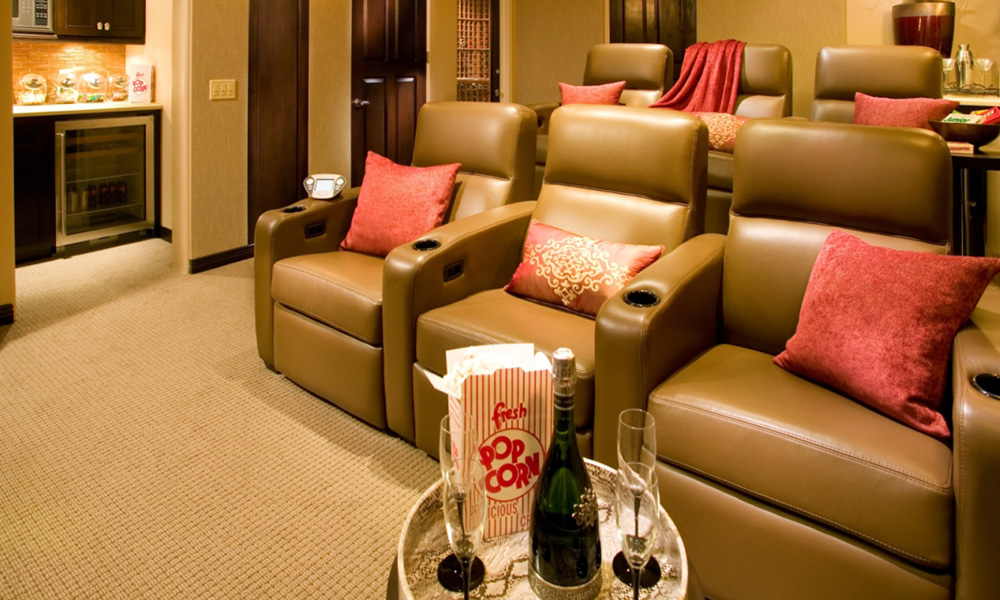 Home Theater, mediterranean home theater, snack bar, theater seating