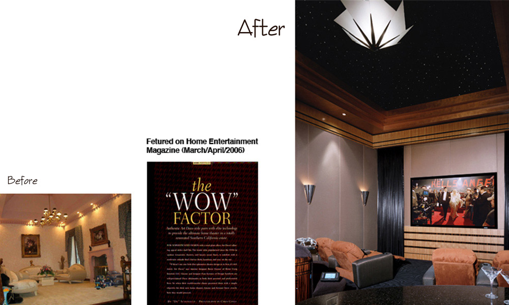 art deco, crestron, fiber optics, Home Theater, Macassar Ebony, star ceiling, theater seating