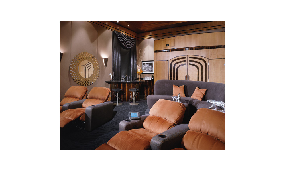 art deco, bar, Home Theater, Macassar Ebony, theater seat